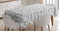 Beyaz Masa Örtüsü Mistik Antik Astroloji Siyah