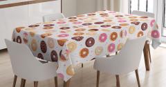 Kafeler için Masa Örtüsü Donut ve Minik Kalp Desenli