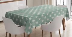 Yeşil El Yapımı Etkili Masa Örtüsü Yıldız Desenleri