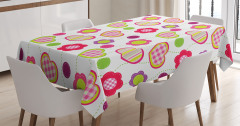 Çocuklar için  Masa Örtüsü Çiçek ve Kalp Desenli