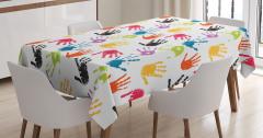 Suluboya Etkili Masa Örtüsü Rengarenk El İzleri
