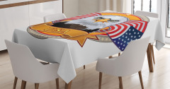 ABD Bayrakları Temalı Masa Örtüsü Kartal Simgesi