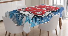 Çizgi Roman Tarzı Masa Örtüsü Amerika Mavi Kırmızı