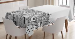 Çatı Katı Manzaralı  Masa Örtüsü Avrupa Şehri Deseni