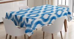 Masa Örtüsü Mavi Beyaz Modern Desenler Şık Tasarım