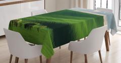 Uçsuz Bucaksız Çayır Masa Örtüsü Yeşil Doğa Ağaçlar