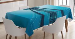 New Yok Manzaralı Masa Örtüsü Masmavi Deniz Gökyüzü