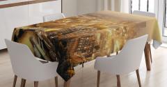 Londra Havadan Görünümlü Masa Örtüsü Gün Doğumu Sarı