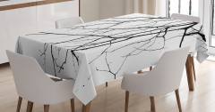 Siyah Beyaz Masa Örtüsü Sonbaharda Ağaç Dalları