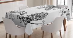 Zarif Kelebek Desenli Masa Örtüsü Şık Tasarım Siyah