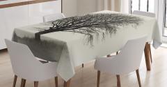 Yalnız Ağaç Temalı Masa Örtüsü Doğada Sonbahar Gri