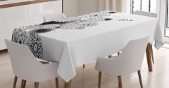 Şık Tasarım Masa Örtüsü Siyah Beyaz Kuş Aşk Çiçekler