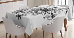 Çiçek Buketi Desenli Masa Örtüsü Romantik Siyah