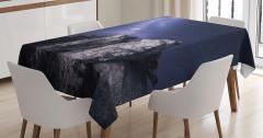 Kayalar ve Yıldızlı Gökyüzü Temalı Masa Örtüsü Siyah