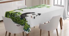 Çocuklar için Masa Örtüsü Sevimli Panda Bambu Ağacı