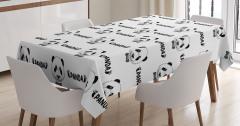 Panda Desenli Masa Örtüsü Siyah Beyaz Şık Tasarım