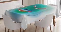 Süslü Balık Desenli Masa Örtüsü Rengarenk Sualtı