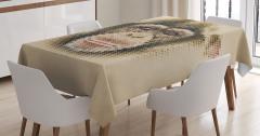 Şık Tasarım Masa Örtüsü Maymun Figürü Kahverengi