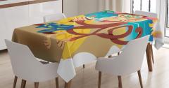 Çocuklar için Masa Örtüsü Sörf Seven Maymun Tropikal