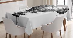 Sıcak Hava Balonu Desenli Masa Örtüsü Siyah Beyaz