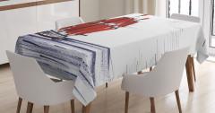 Denizde Yelkenli Desenli Masa Örtüsü Mavi Kırmızı