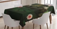 Mistik Orman Baskılı Masa Örtüsü Çiçekler Kelebekler