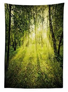 Ormanda Gün Doğumu Temalı Masa Örtüsü Güneş Doğa