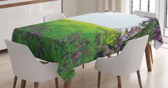 Menekşe Bahçesi Manzaralı Masa Örtüsü Mor Yeşil