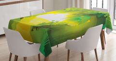 Sihirli Ormanda Gün Batımı Temalı Masa Örtüsü Yeşil