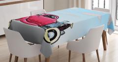 Klasik Stil Araba Desenli Masa Örtüsü Retro Pembe