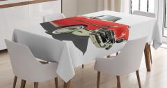 Eski Moda Araba Temalı Masa Örtüsü Kırmızı Retro