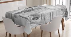 Üç Boyutlu Etkili Masa Örtüsü 3D Araba Siyah Beyaz