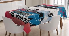 Eski Klasik Arabalar Baskılı Masa Örtüsü Retro Mavi