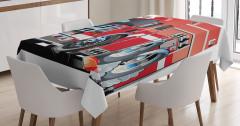 İtfaiye Arabası Desenli Masa Örtüsü Kırmızı Beyaz