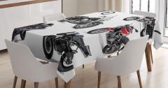 Motosiklet Desenli Masa Örtüsü Şık Tasarım Siyah
