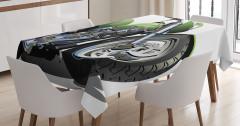 Yeşil Motosiklet Desenli Masa Örtüsü Macera Tutkunu
