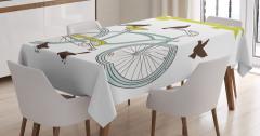 Bisiklet Desenli Masa Örtüsü Mor Bahar Çiçekleri