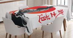 Japon Dekor Masa Örtüsü Samuray ve Kılıcı Kırmızı