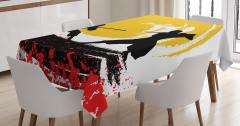 Ninja Desenli Masa Örtüsü Sarı Siyah Kırmızı Savaşçı