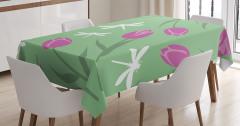 Çiçek Desenli Masa Örtüsü Laleler Yusufçuk Yeşil