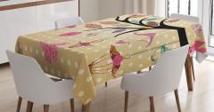 Kahverengi Masa Örtüsü Çiçeklenmiş Dal Modern Sanat