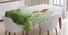 Gelincik Çiçeği Desenli Masa Örtüsü Yusufçuk Bahar