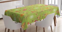 Çan Çiçeği Desenli Masa Örtüsü Bahar Yeşil Turuncu