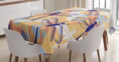 Yusufçuk Desenli Masa Örtüsü Şık Tasarım Turuncu