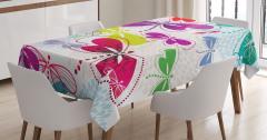 Renkli Kelebek Desenli Masa Örtüsü Çiçekler Yusufçuk