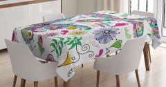 Renkli Kelebek Desenli Masa Örtüsü Çiçekler Kalpler