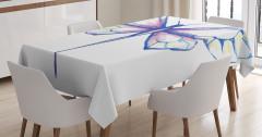 Kelebek Desenli Masa Örtüsü Pastel Renkler Şık Beyaz