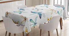 Yusufçuk Desenli Masa Örtüsü Trend Şık Tasarım Beyaz