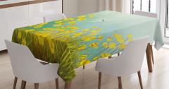 Bahar Temalı Masa Örtüsü Papatyalar Yusufçuklar Sarı