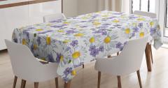BaharTemalı Masa Örtüsü Beyaz Papatya Mor Çiçek
